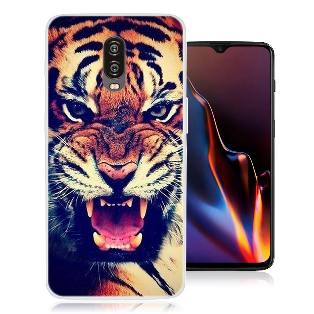 OnePlus 6T beskyttelsesetui i silikone med mønster - Tiger