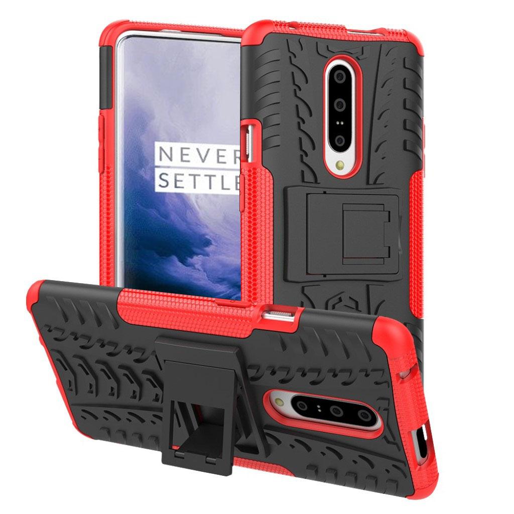 OnePlus 7 Pro anti-slip hybrid etui - Rød