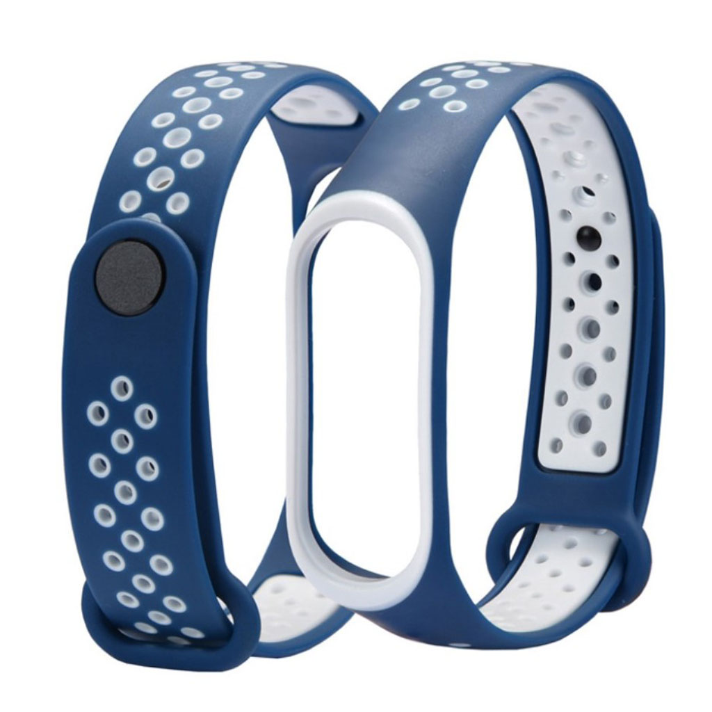 Image of   Xiaomi Mi Band 3 two-tone flexible watch band replacement - White / Dark Blue