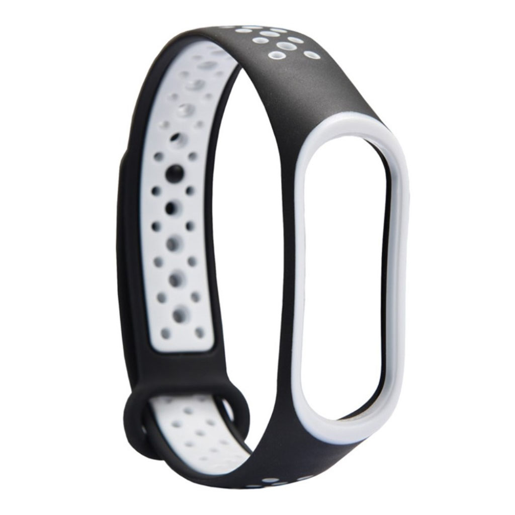 Image of   Xiaomi Mi Band 3 two-tone flexible watch band replacement - White / Black