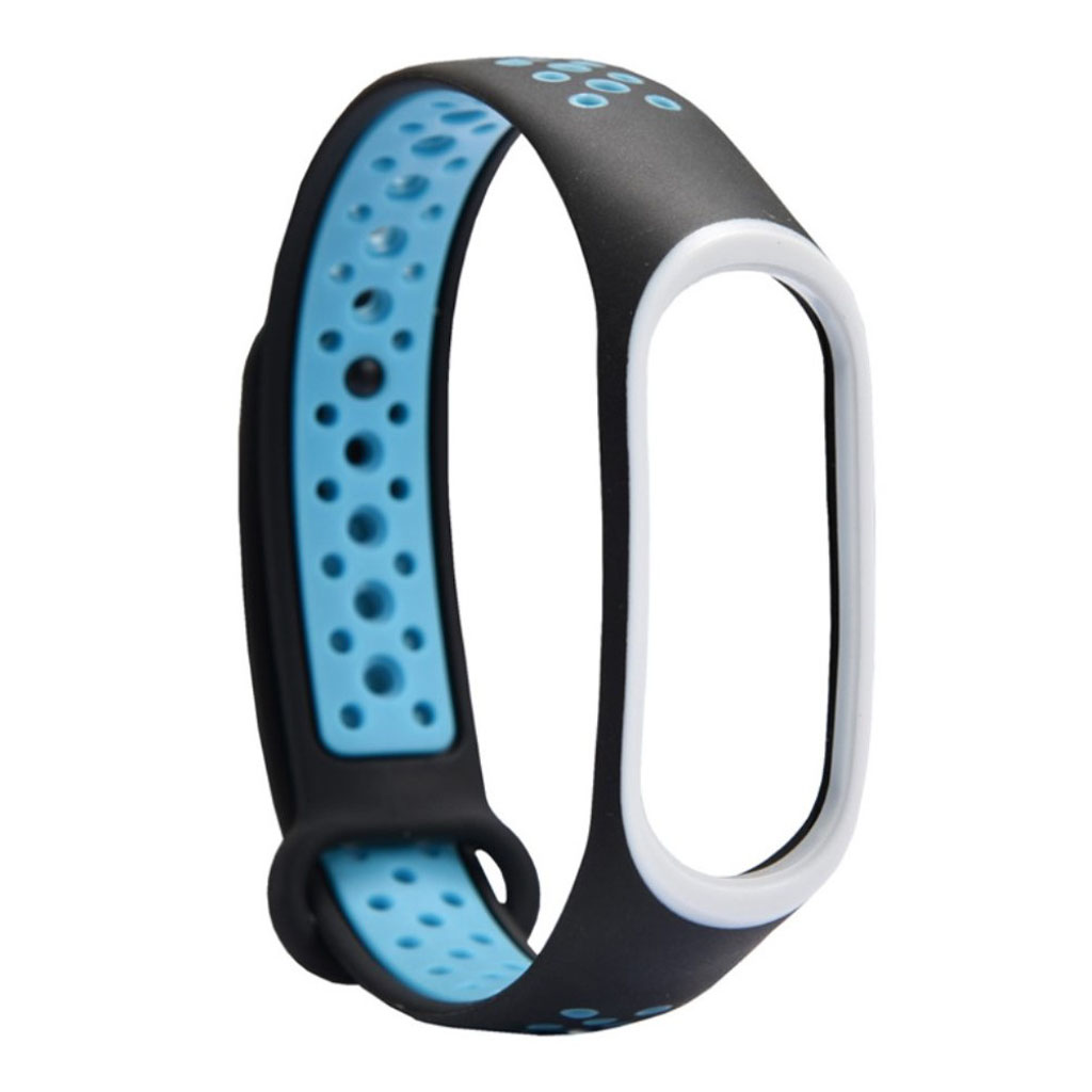 Image of   Xiaomi Mi Band 3 two-tone flexible watch band replacement - Baby Blue / Black