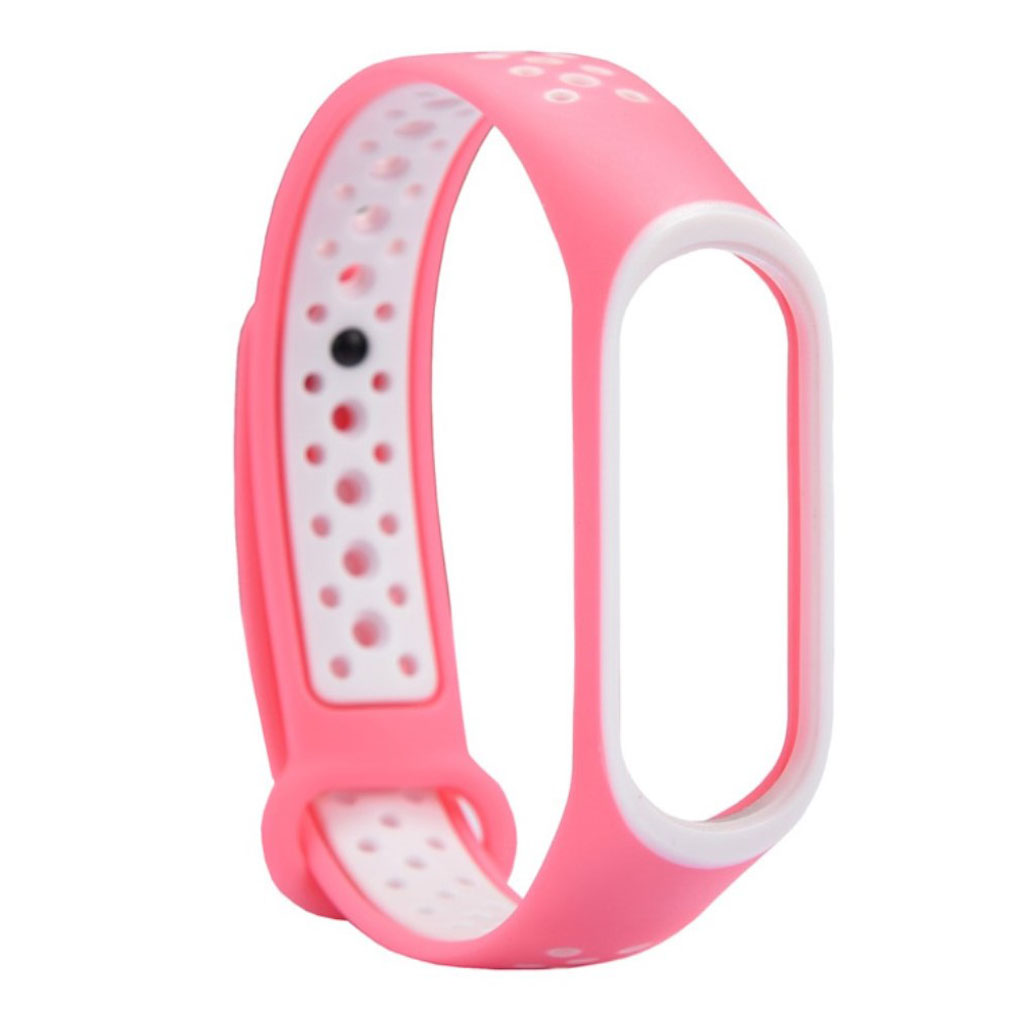 Image of   Xiaomi Mi Band 3 two-tone flexible watch band replacement - White / Pink