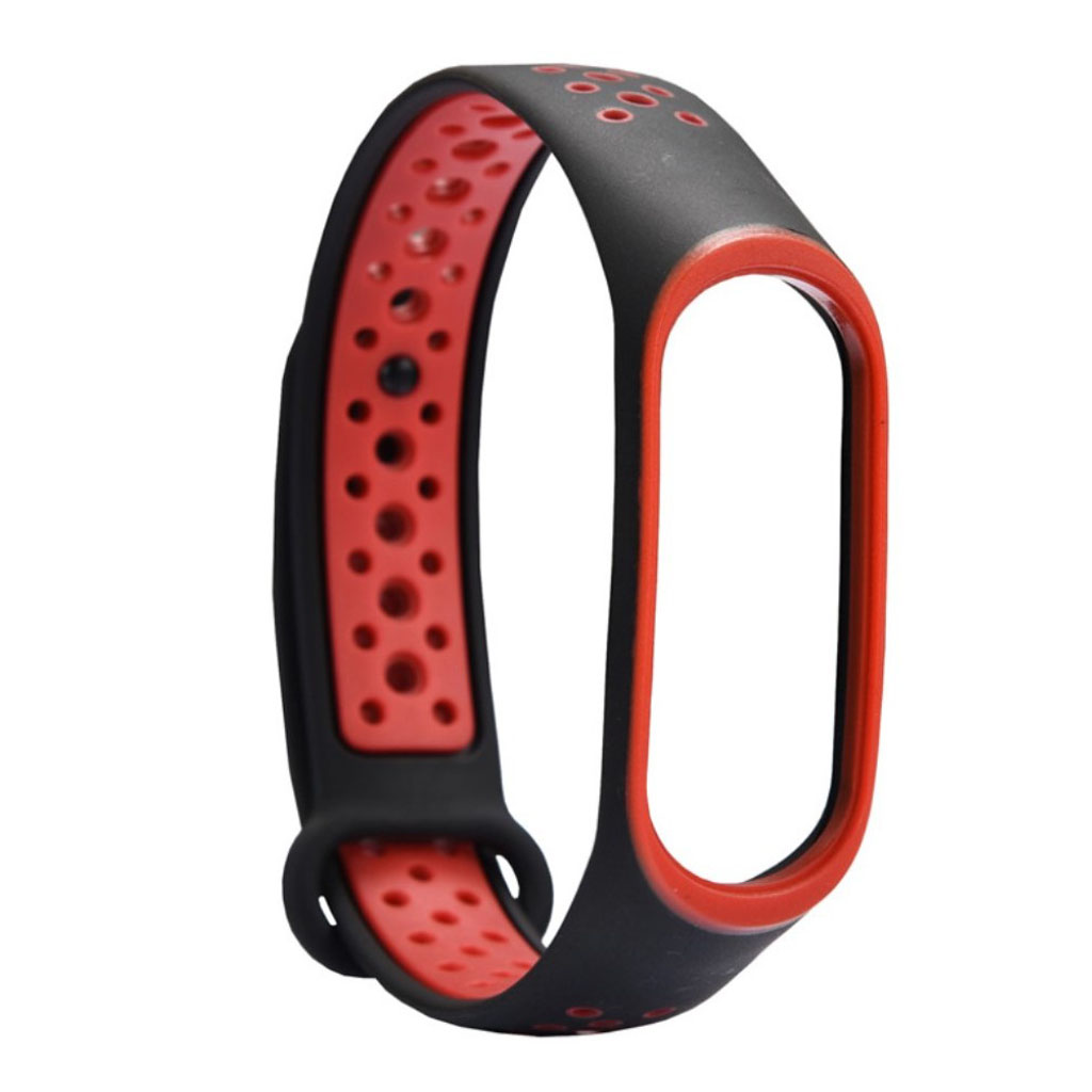 Image of   Xiaomi Mi Band 3 two-tone flexible watch band replacement - Red / Black