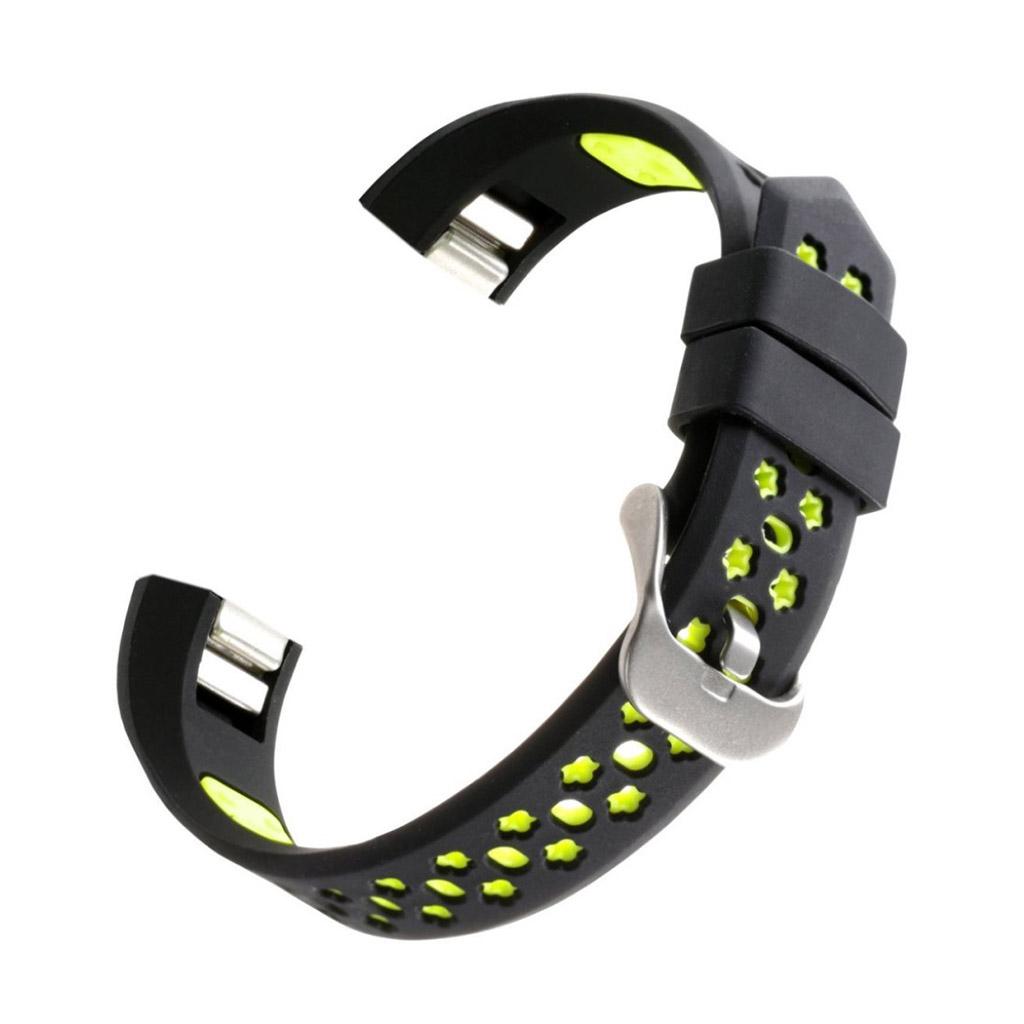Image of   Fitbit Alta silicone armbånd med spænde - Sort / Grøn