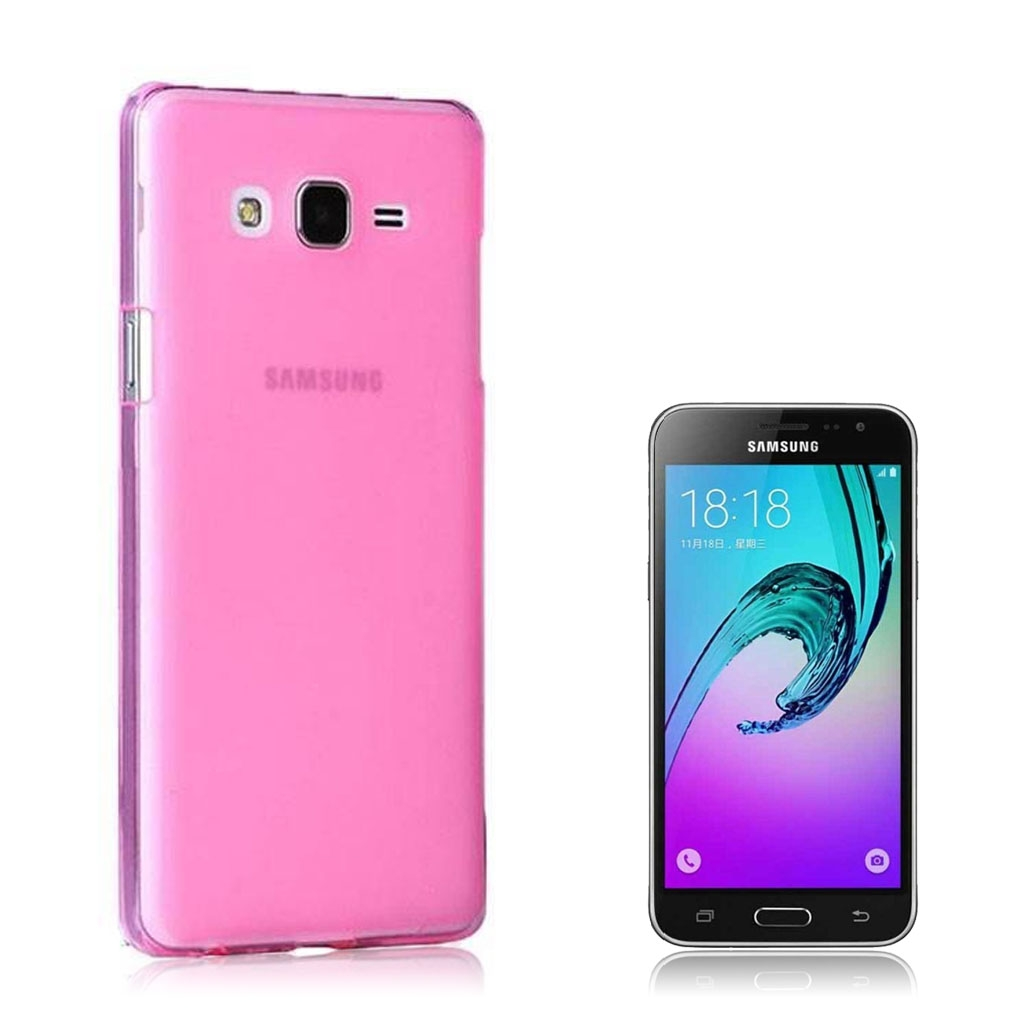 Image of   Samsung Galaxy J3 (2016) Transparent Plast Cover (Blødt) (Pink)